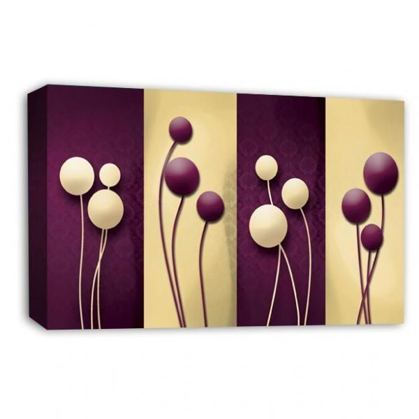 Floral Abstract Wall Art Picture Purple Cream Grey Flower Print